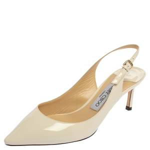 Jimmy Choo White Patent Leather  Slingback  Pumps Size 36.5