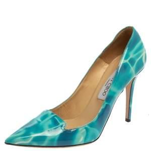 حذاء كعب عالي جيمي تشو افريل مقدمة مدببة جلد لامع أبيض و أزرق مقاس 40
