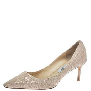 Jimmy Choo Nude Snake Embossed Leather Romy Pumps Size 40