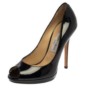حذاء كعب عالي جيمي تشو جلد أسود لامع مقدمة مفتوحة مقاس 39