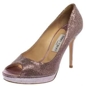 Jimmy Choo Purple Coarse Glitter Dahlia  Pumps Size 39.5