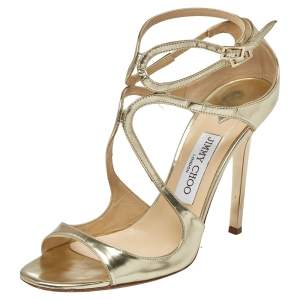 Jimmy Choo Gold Leather Lang Sandals Size 39