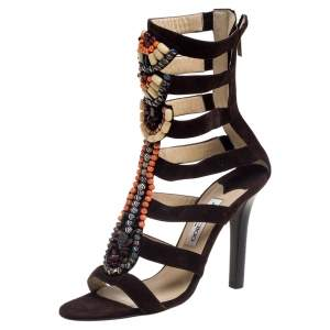 Jimmy Choo Brown Suede Beaded Gladiator Sandals Size 40.5