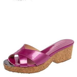 Jimmy Choo Pink Patent Leather Panna Criss Cross Cork Slide Sandals Size 38.5