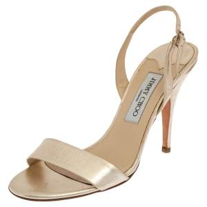 Jimmy Choo Gold Leather Slingback Sandals Size 39