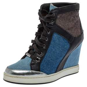 Jimmy Choo Blue/Black Denim And Leather  Wedge Panama  Sneakers Size 37.5