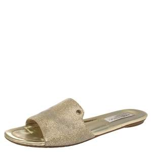 Jimmy Choo Gold Lame And Glitter Nanda Flat Slides Size 39.5