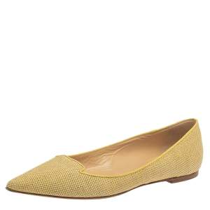 Jimmy Choo Yellow Canvas Attila Ballet Flats Size 41