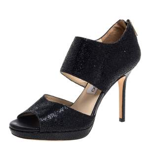 Jimmy Choo Black Glitter Private Sandals Size 36