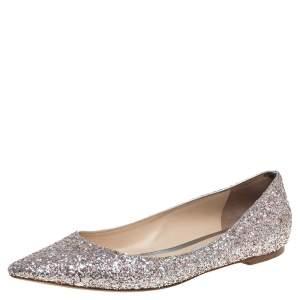Jimmy Choo Silver Glitter Romy Pointed Toe Flats Size 42