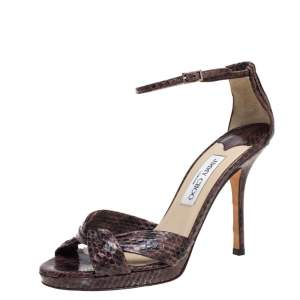 Jimmy Choo Brown Python Macy Platform Sandals Size 39.5