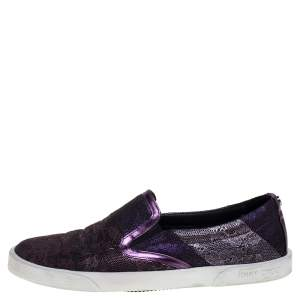 Jimmy Choo Metallic Purple Lace Demi Slip On Sneakers Size 37.5