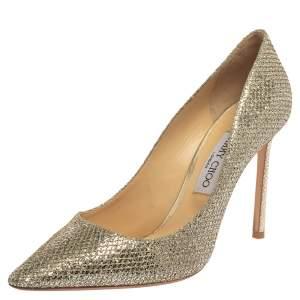 Jimmy Choo Metallic Silver Glitter Romy Pumps Size 40