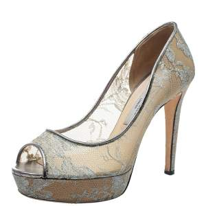 Jimmy Choo Grey Lace Luna Peep Toe Platform Pumps Size 38.5