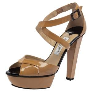 Jimmy Choo Beige Patent Leather Peep Toe Ankle Strap Pump Size 38