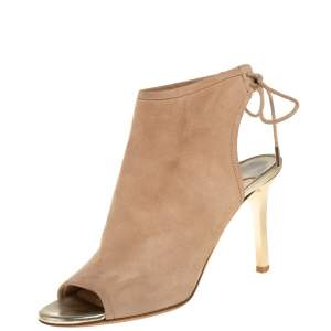 Jimmy Choo Beige Suede  Froze Peep Toe Lace Up Ankle Booties Size 36