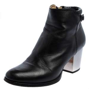Jimmy Choo Black Leather Zipper Ankle Boots Size 35.5