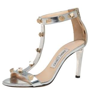 Jimmy Choo Silver Leather Studded Sandals Size 35