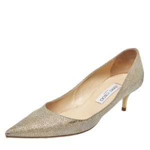 Jimmy Choo Gold Shimmery Fabric Aza Kitten Heel Pointed Toe Pumps Size 40