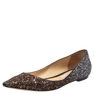 Jimmy Choo Metallic Ombre Glitter Romy Pointed Toe Ballet Flats Size