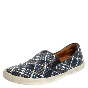Jimmy Choo Blue Demi Woven Leather Slip-on Sneakers Size 39.5