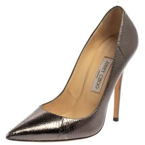 Jimmy Choo Metallic Grey Python Embossed Leather Anouk Pumps Size 39