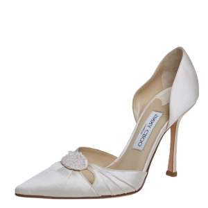 Jimmy Choo Off White Satin D'orsay Pumps Size 39