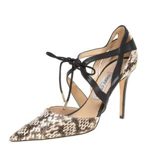 Jimmy Choo Beige/Black Leather and Snakeskin Lapris Pumps Size 38.5