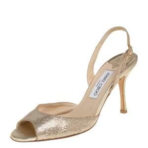 Jimmy Choo Gold Glitter Fabric Slingback Sandals Size 38