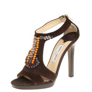 Jimmy Choo Brown Suede Beaded T-strap Tribal Sandals Size 38.5