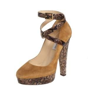 Jimmy Choo Beige/Brown Suede And Python Ankle Strap Platform Pumps Size 39