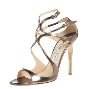 Jimmy Choo Metallic Brown Patent Leather Lang Sandals Size 38.5