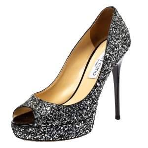 Jimmy Choo Silver/Black Coarse Glitter Crown Peep Toe Platform Pumps Size 38