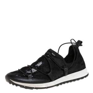 Jimmy Choo Black Leather And Sequin Andrea Sneakers Size 41