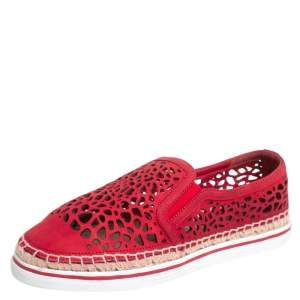 Jimmy Choo Red Laser Cut Nubuck Espadrilles Sneakers Size 38
