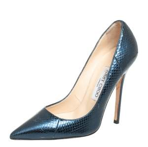 Jimmy Choo Metallic Blue Python Embossed Leather Abel Pointed Toe Pumps Size 36