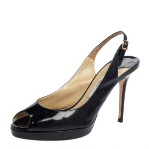 Jimmy Choo Black Patent Leather Peep Toe Platform Sandals Size 39
