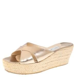 Jimmy Choo Gold Crisscross  Wedge Sandals Size 40.5