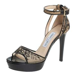 Jimmy Choo Black Lace And Patent Leather Kayden Sandals Size 35.5