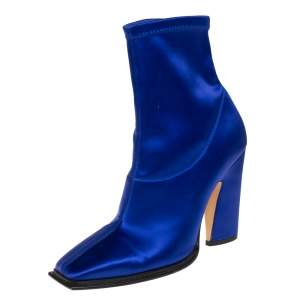 Jimmy Choo Blue Satin Closed Square Toe Boots Size 39