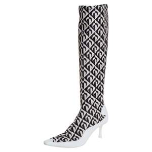 Jimmy Choo White/Black Leather And Stretch Fabric Knee High Boots Size 37