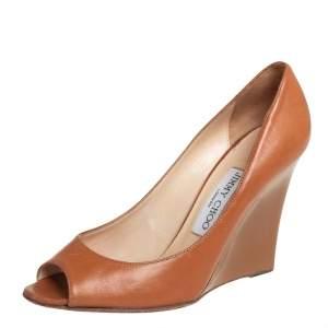 Jimmy Choo Tan Leather Wedge Peep Toe Pumps Size 37