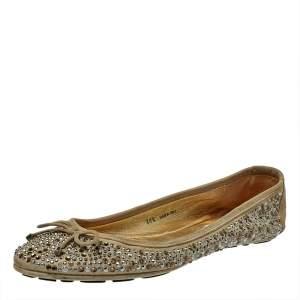 Jimmy Choo Grey Crystal Embellished Suede Weber Ballet Flats Size 38.5