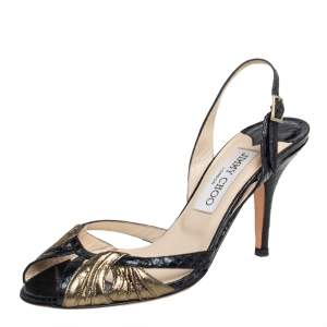 Jimmy Choo Black/Gold Python Embossed And Fabric  Ankle Strap Sandals Size 36