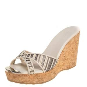Jimmy Choo Cream/Grey Mesh And Leather Pandora Platform Wedge Sandals Size 35.5