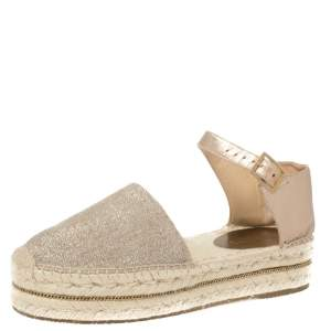 Jimmy Choo Metallic Gold/Beige Shimmery Fabric and Leather Ankle Strap Espadrille Platform Sandals Size 39