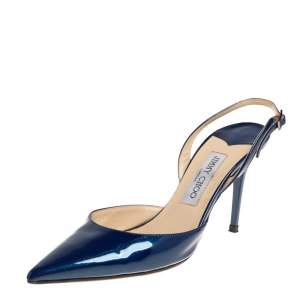 Jimmy Choo Blue Patent Leather Tilly Pointed Toe Slingback Sandals Size 39