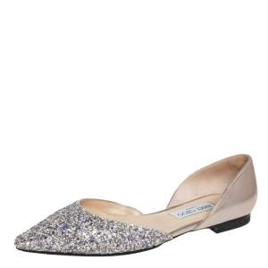 Jimmy Choo Metallic Gold Leather and Coarse Glitter Esther D'Orsay Flats Size 39.5