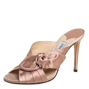 Jimmy Choo Nude Pink Satin Keely Knotted Slide Sandals Size 35