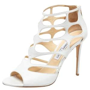 Jimmy Choo White Leather Ren Caged Sandals Size 40
